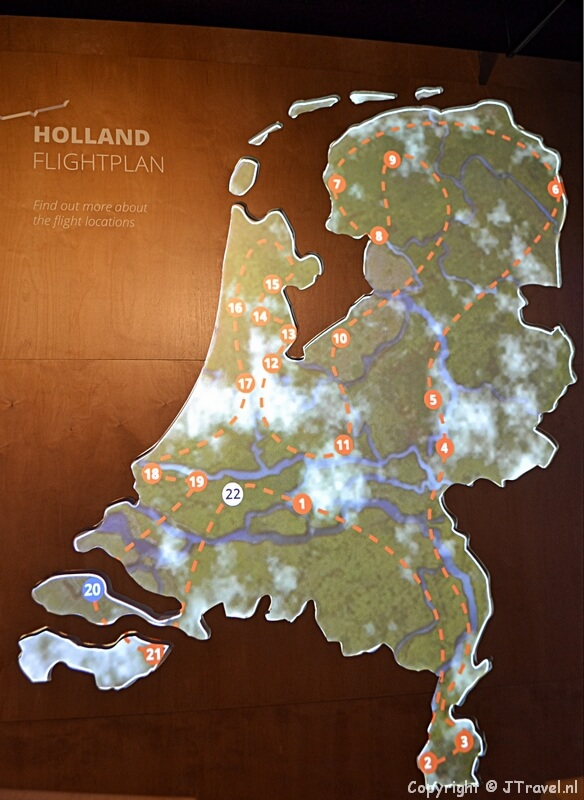 De route van de vluchtsimulator in This is Holland